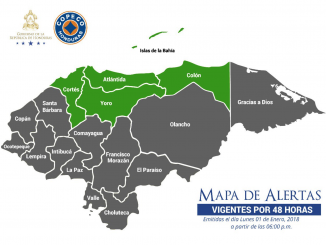 Mapa divulgado por la COPECO de Honduras.