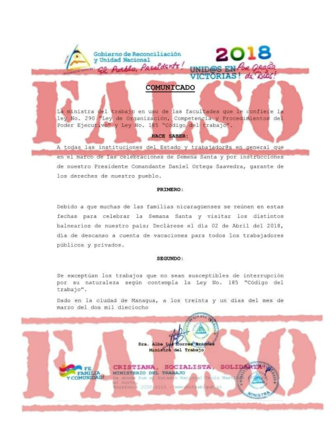 Ministerio del Trabajo desmiente supuesto falso comunicado