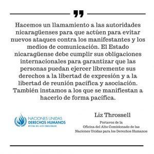 ONU,actos violentos,Nicaragua,
