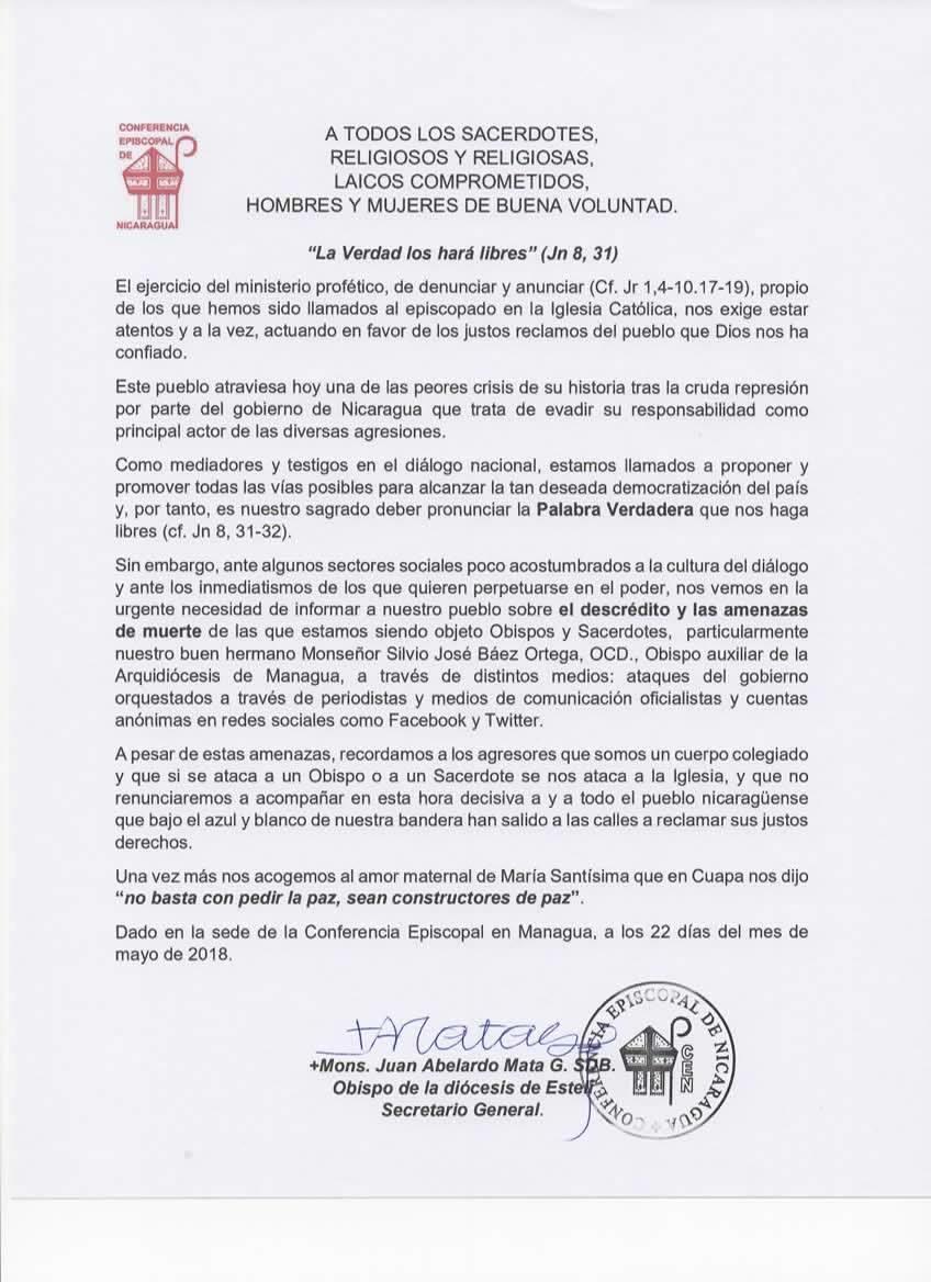 Amenazas de muerte contra Monseñor Báez