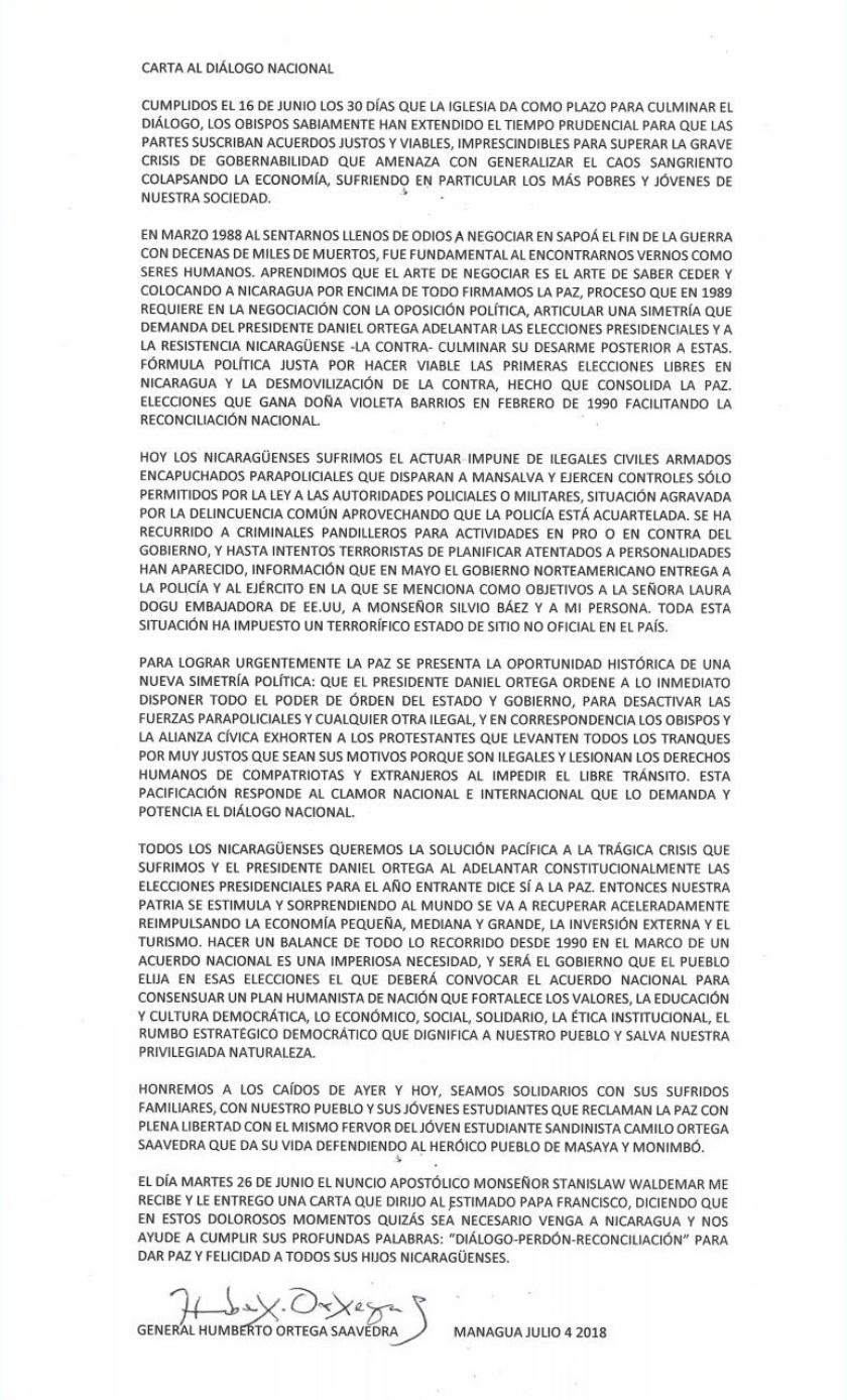 Carta de Humberto Ortega