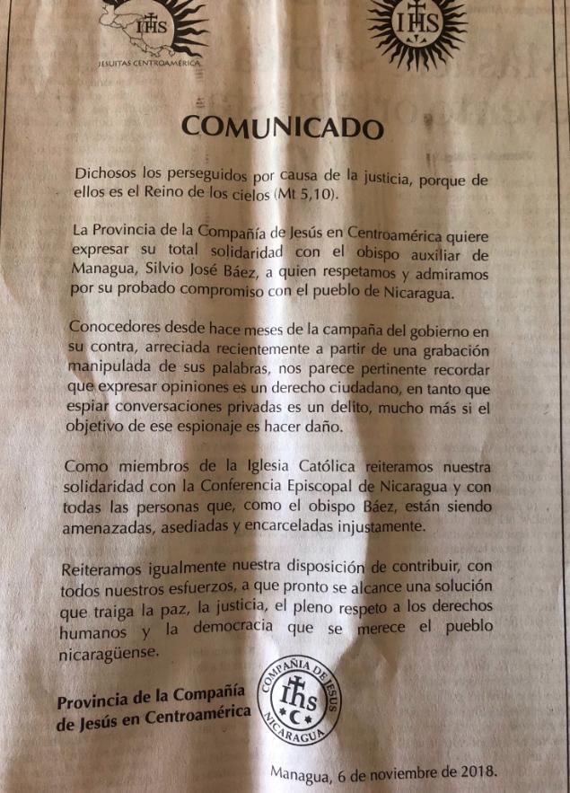 Comunicado Jesuitas