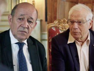 Los ministros de Exteriores de España y de Francia, Josep Borrell y Jean-Yves Le Drian