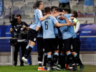 La celeste venció al cuadro ecuatoriano 4-0 en un partido celebrado en el estadio Mineirao de Belo Horizonte. Foto: EFE