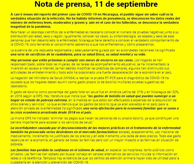 Nota de Prensa Observatorio Ciudadado Covid-19