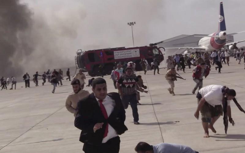 explosiones en el aeropuerto de Adén
