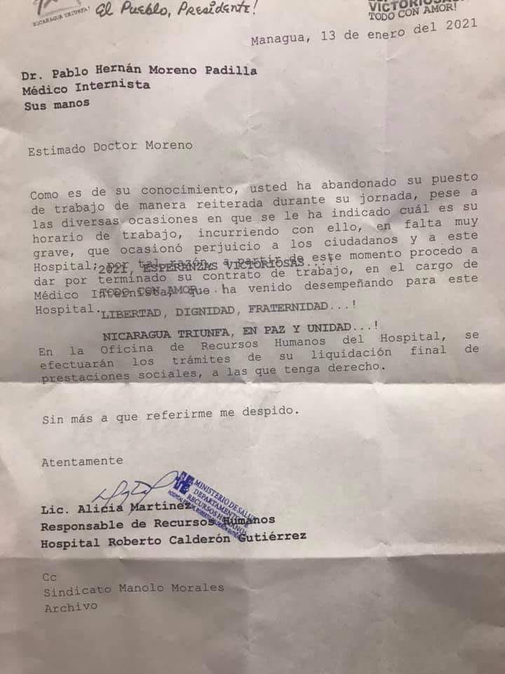 carta-de-despido-de-medico-internista
